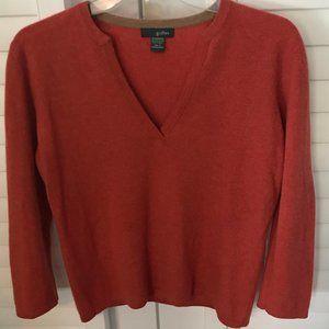 Burnt orange Griffen cashmere v neck sweater, S
